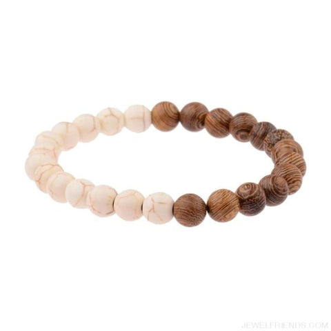 Image of 8Mm Natural Wood Beads Bracelets - 005-C1 - Custom Made | Free Shipping