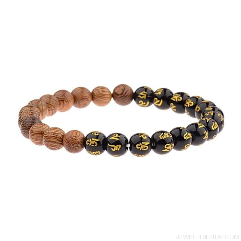 8Mm Natural Wood Beads Bracelets - 005-G - Custom Made | Free Shipping