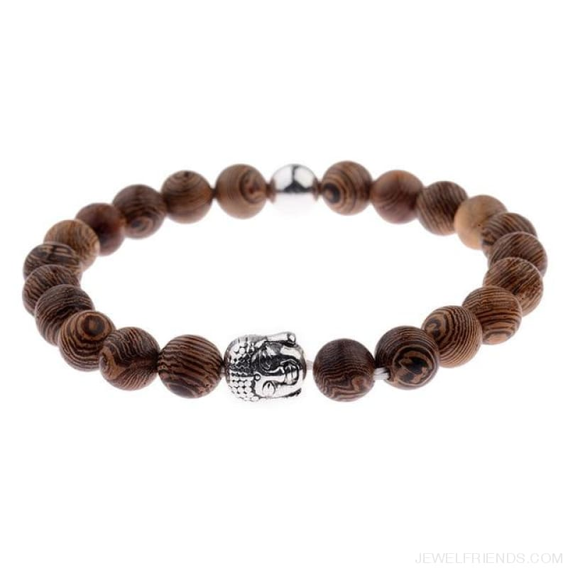 8Mm Natural Wood Beads Bracelets - 007-2 - Custom Made | Free Shipping