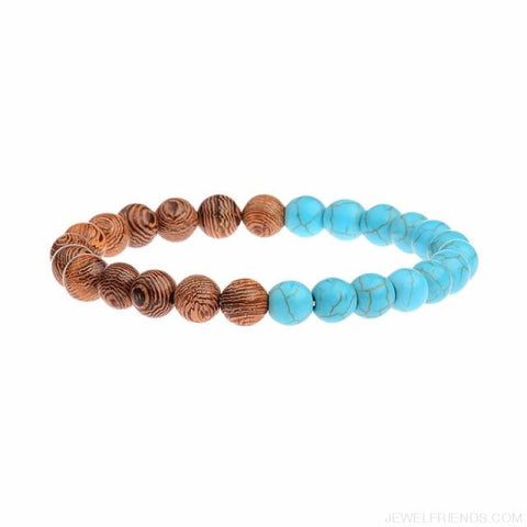 Image of 8Mm Natural Wood Beads Bracelets - 022-1 - Custom Made | Free Shipping