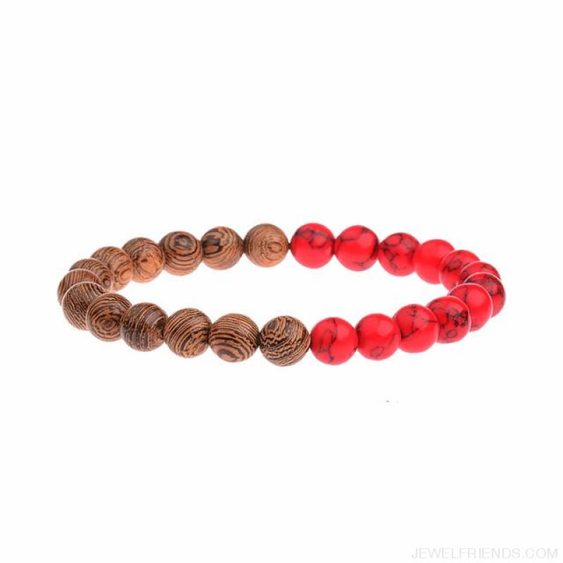 8Mm Natural Wood Beads Bracelets - 022-2 - Custom Made | Free Shipping