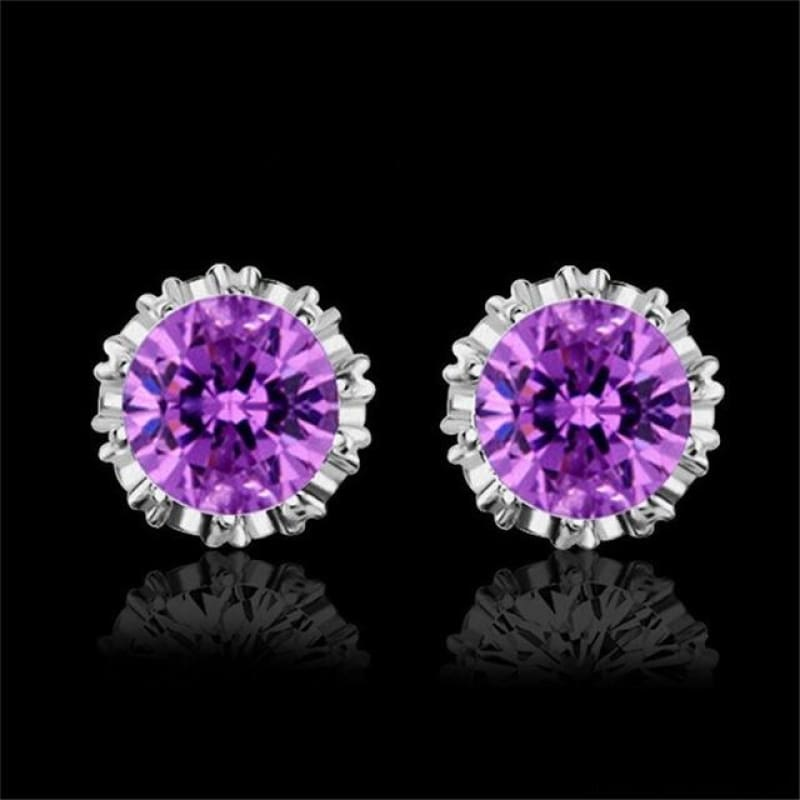 925 Sterling Silve 8Mm Round 2 Carat Cubic Zirconia Silver Stud Earrings - 3 - Custom Made | Free Shipping