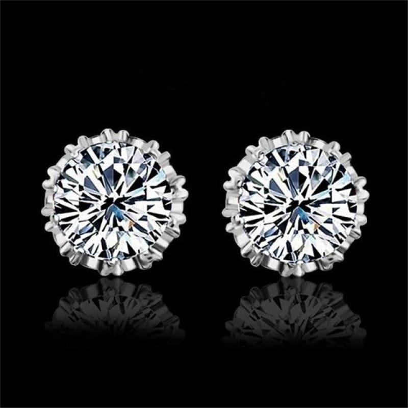 925 Sterling Silve 8Mm Round 2 Carat Cubic Zirconia Silver Stud Earrings - 4 - Custom Made | Free Shipping