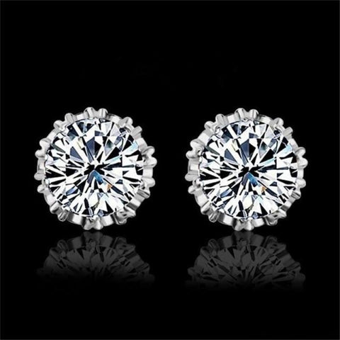 Image of 925 Sterling Silve 8Mm Round 2 Carat Cubic Zirconia Silver Stud Earrings - 4 - Custom Made | Free Shipping