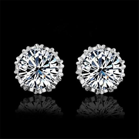 Image of 925 Sterling Silve 8Mm Round 2 Carat Cubic Zirconia Silver Stud Earrings - Custom Made | Free Shipping