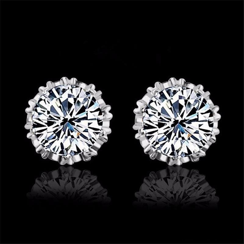 925 Sterling Silve 8Mm Round 2 Carat Cubic Zirconia Silver Stud Earrings - Custom Made | Free Shipping