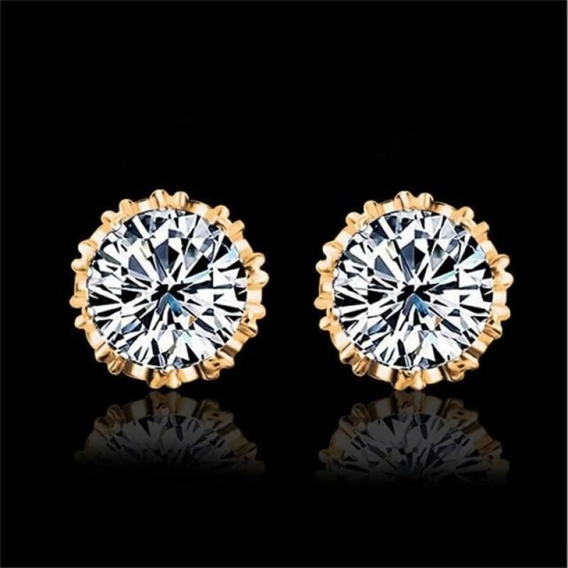 925 Sterling Silve 8Mm Round 2 Carat Cubic Zirconia Silver Stud Earrings - 2 - Custom Made | Free Shipping