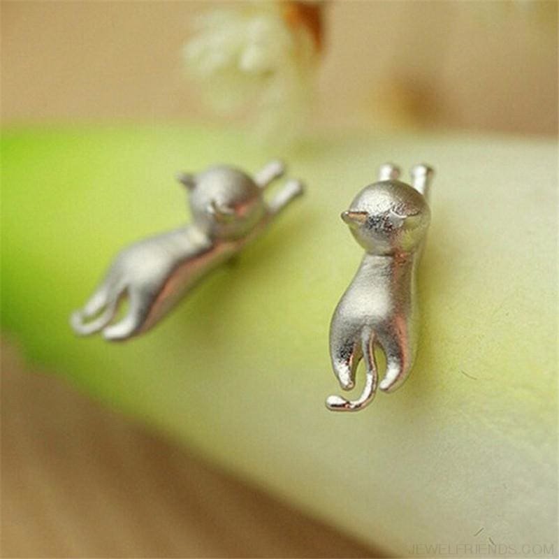925 Sterling Silver Cat Stud Earrings - Custom Made | Free Shipping