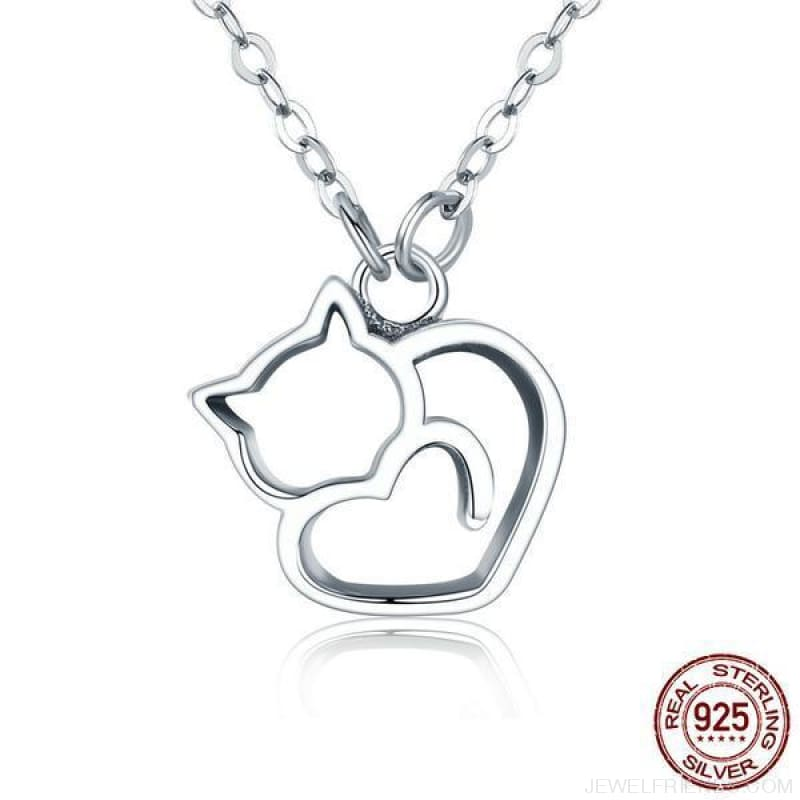 925 Sterling Silver Heart Cat Necklace - Custom Made | Free Shipping