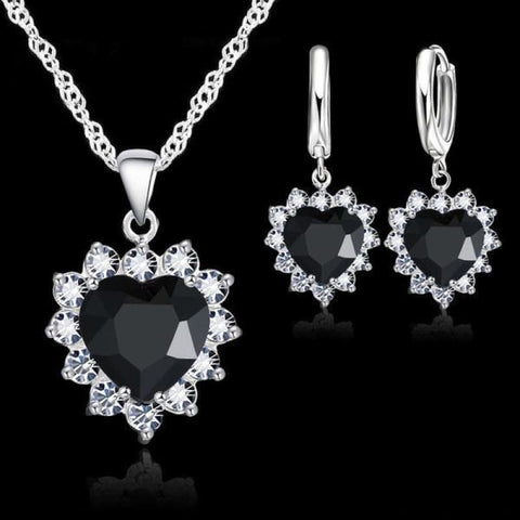 Image of 925 Sterling Silver Heart Stone Charm Jewelry Set - Black - Custom Made | Free Shipping