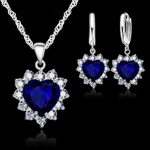 Image of 925 Sterling Silver Heart Stone Charm Jewelry Set - Blue 1 - Custom Made | Free Shipping