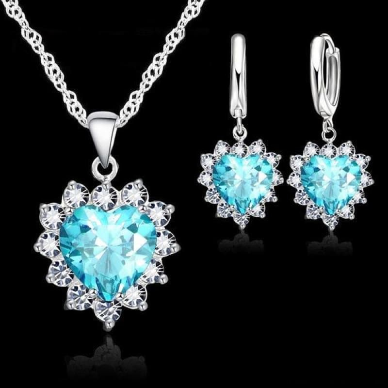 925 Sterling Silver Heart Stone Charm Jewelry Set - Blue - Custom Made | Free Shipping