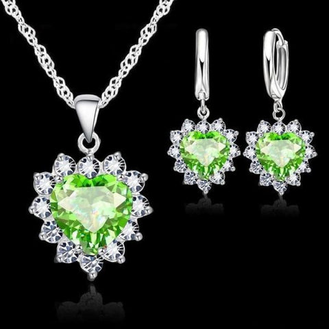 Image of 925 Sterling Silver Heart Stone Charm Jewelry Set - Green 1 - Custom Made | Free Shipping