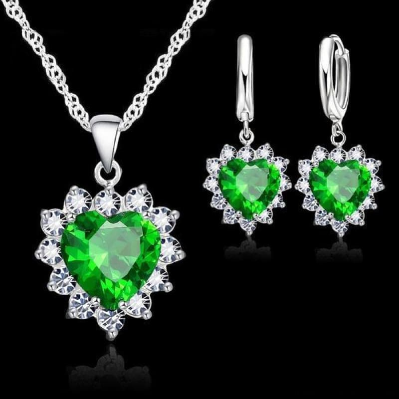925 Sterling Silver Heart Stone Charm Jewelry Set - Green - Custom Made | Free Shipping
