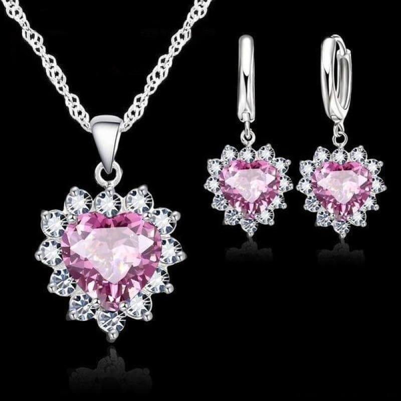 925 Sterling Silver Heart Stone Charm Jewelry Set - Pink - Custom Made | Free Shipping