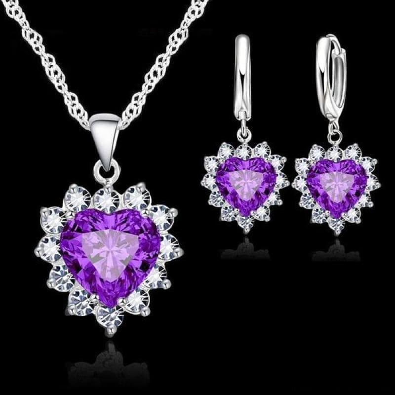 925 Sterling Silver Heart Stone Charm Jewelry Set - Purple - Custom Made | Free Shipping