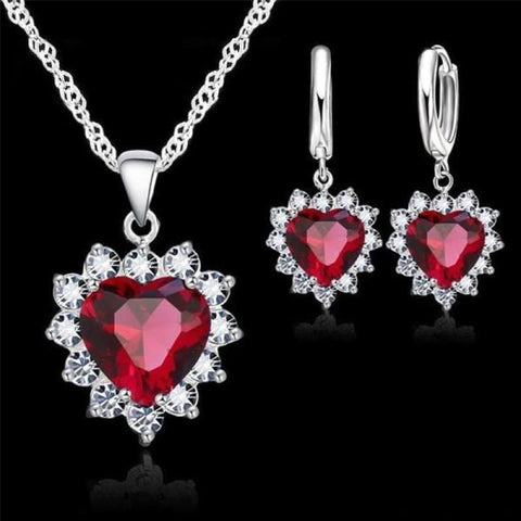 Image of 925 Sterling Silver Heart Stone Charm Jewelry Set - Red - Custom Made | Free Shipping