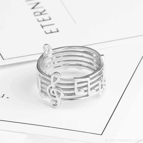 925 Sterling Sliver Musical Note Pattern Ring - Custom Made | Free Shipping