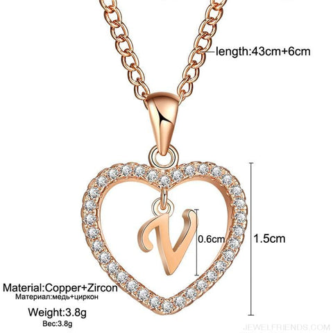 Image of A To Z Letter Name Cubic Zirconia Heart Necklace - Custom Made | Free Shipping