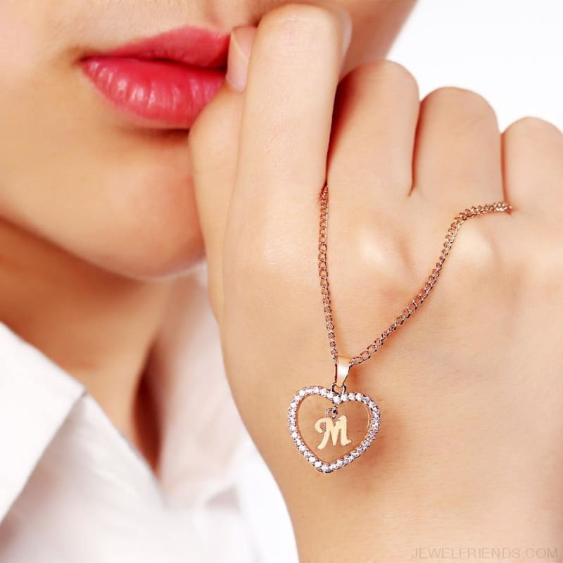 A To Z Letter Name Cubic Zirconia Heart Necklace - Custom Made | Free Shipping