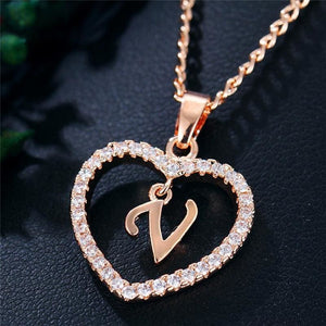 A To Z Letter Name Cubic Zirconia Heart Necklace