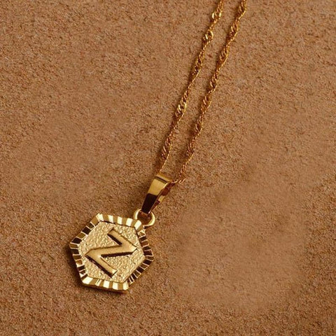 A-Z Letters Gold Color Charm Pendant Necklaces - Choose Letter Z / 45Cm Thin Chain - Custom Made | Free Shipping