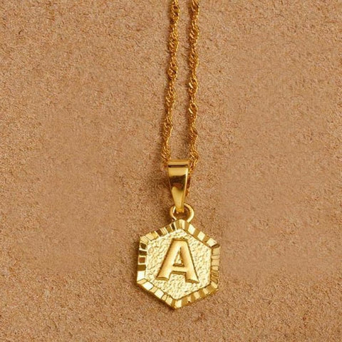 A-Z Letters Gold Color Charm Pendant Necklaces - Choose Letter A / 45Cm Thin Chain - Custom Made | Free Shipping