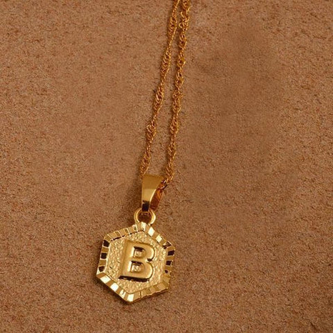 A-Z Letters Gold Color Charm Pendant Necklaces - Choose Letter B / 60Cm Thin Chain - Custom Made | Free Shipping