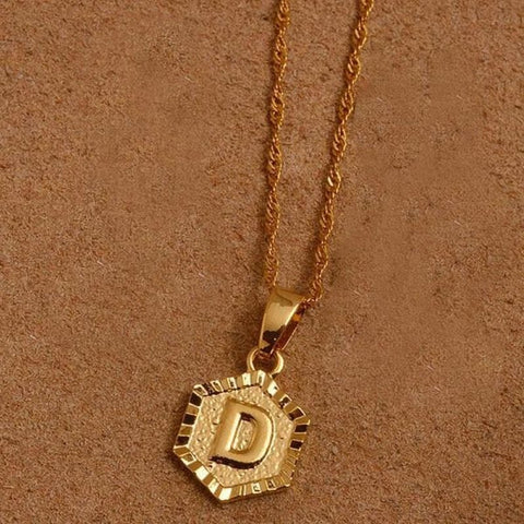 A-Z Letters Gold Color Charm Pendant Necklaces - Choose Letter D / 45Cm Thin Chain - Custom Made | Free Shipping