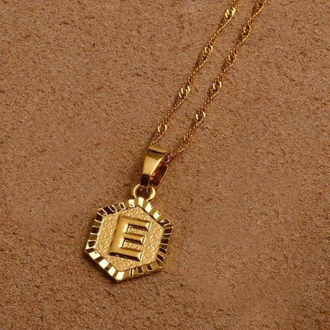 A-Z Letters Gold Color Charm Pendant Necklaces - Choose Letter E / 45Cm Thin Chain - Custom Made | Free Shipping