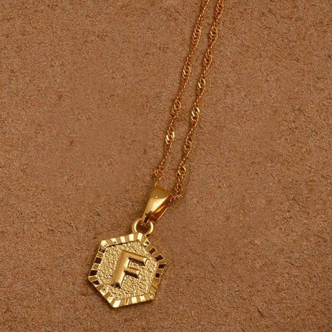 A-Z Letters Gold Color Charm Pendant Necklaces - Choose Letter F / 45Cm Thin Chain - Custom Made | Free Shipping