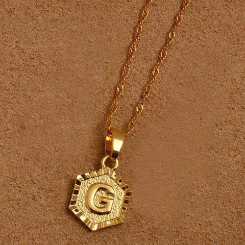 A-Z Letters Gold Color Charm Pendant Necklaces - Choose Letter G / 45Cm Thin Chain - Custom Made | Free Shipping