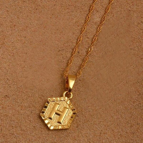 A-Z Letters Gold Color Charm Pendant Necklaces - Choose Letter H / 45Cm Thin Chain - Custom Made | Free Shipping