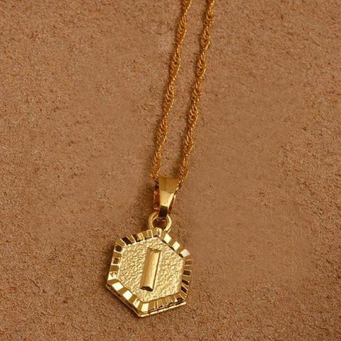A-Z Letters Gold Color Charm Pendant Necklaces - Choose Letter I / 45Cm Thin Chain - Custom Made | Free Shipping