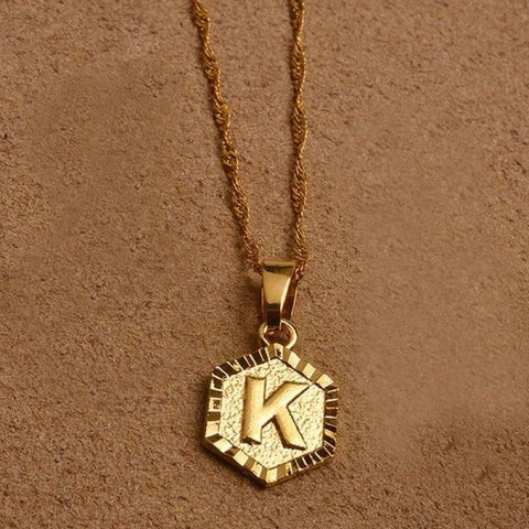 A-Z Letters Gold Color Charm Pendant Necklaces - Choose Letter K / 45Cm Thin Chain - Custom Made | Free Shipping