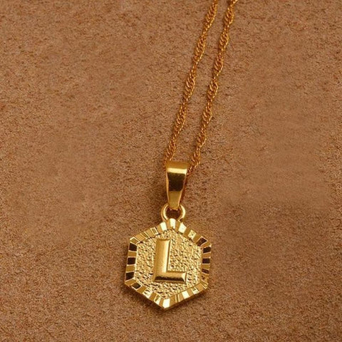 A-Z Letters Gold Color Charm Pendant Necklaces - Choose Letter L / 45Cm Thin Chain - Custom Made | Free Shipping