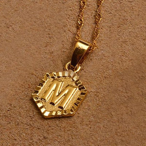 A-Z Letters Gold Color Charm Pendant Necklaces - Choose Letter M / 45Cm Thin Chain - Custom Made | Free Shipping
