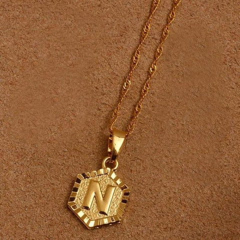 Image of A-Z Letters Gold Color Charm Pendant Necklaces - Choose Letter N / 45Cm Thin Chain - Custom Made | Free Shipping