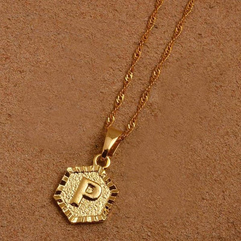 A-Z Letters Gold Color Charm Pendant Necklaces - Choose Letter P / 45Cm Thin Chain - Custom Made | Free Shipping