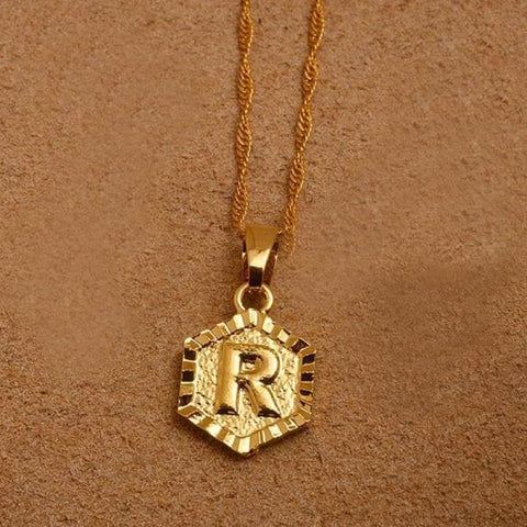 A-Z Letters Gold Color Charm Pendant Necklaces - Choose Letter R / 45Cm Thin Chain - Custom Made | Free Shipping