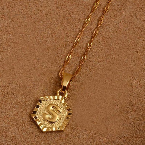 A-Z Letters Gold Color Charm Pendant Necklaces - Choose Letter S / 45Cm Thin Chain - Custom Made | Free Shipping