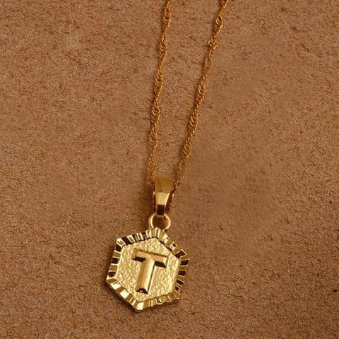 A-Z Letters Gold Color Charm Pendant Necklaces - Choose Letter T / 45Cm Thin Chain - Custom Made | Free Shipping