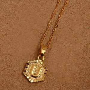 A-Z Letters Gold Color Charm Pendant Necklaces - Choose Letter U / 45Cm Thin Chain - Custom Made | Free Shipping