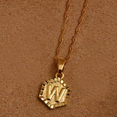 A-Z Letters Gold Color Charm Pendant Necklaces - Choose Letter W / 45Cm Thin Chain - Custom Made | Free Shipping