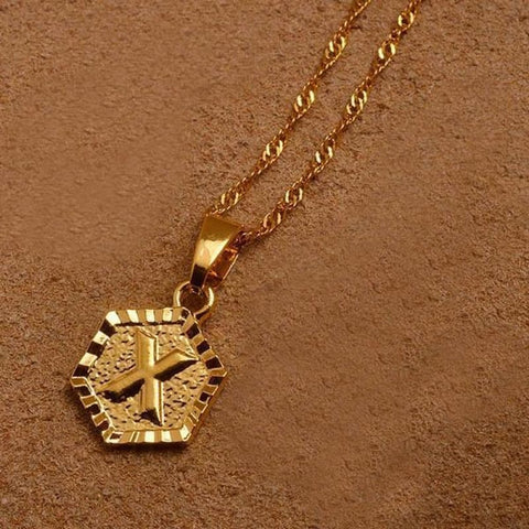 A-Z Letters Gold Color Charm Pendant Necklaces - Choose Letter X / 45Cm Thin Chain - Custom Made | Free Shipping