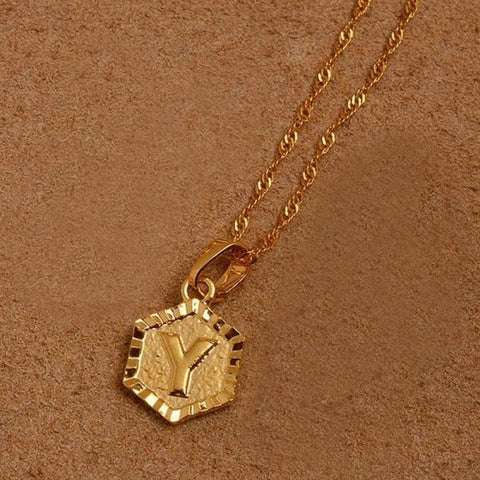A-Z Letters Gold Color Charm Pendant Necklaces - Choose Letter Y / 45Cm Thin Chain - Custom Made | Free Shipping