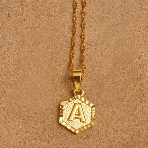 A-Z Letters Gold Color Charm Pendant Necklaces - Custom Made | Free Shipping