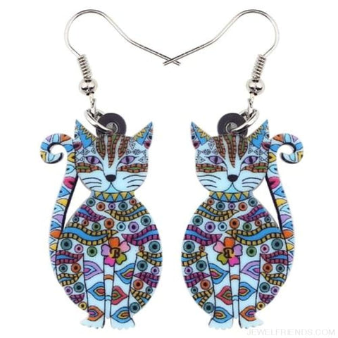 Acrylic Colorful Cat Drop Earrings - Blue - Custom Made | Free Shipping