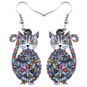 Acrylic Colorful Cat Drop Earrings - Grey - Custom Made | Free Shipping