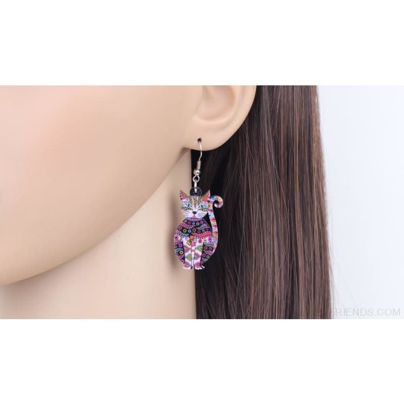 Acrylic Colorful Cat Drop Earrings - Custom Made | Free Shipping